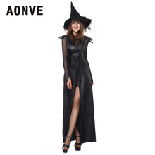 Aonve Halloween Witches Cosplay Costumes Sexy Black Slit Dress Witchcraft Performance Disfraz With Witch Hat Long Charming Dress