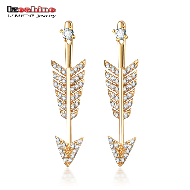 Lzeshine New Designer Earrings Arrow Shape With Dazzling Cubic Zircon High Quality Fashion Stud For