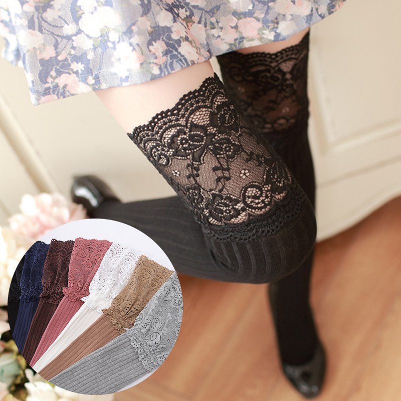 New Fashion 7 Colors Striped Thigh High Stockings Women Lace Sexy Cotton Stocking Autumn Winter Warm Knee Socks Over The Knee
