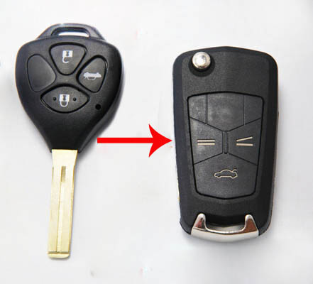 Modified 3 Buttons Folding Flip Remote Key Shell For Toyota Crown 2.5  Blanks FOB Key Case|shell toyota|shell key|shell buttons - title=