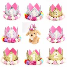 New Pet Birthday Hat Decorative Shiny Dog Headband Headwear for 1 to 3 years old Dogs Cats