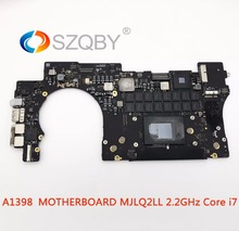 100% рабочая A1398 лоджик борд для MacBook Pro 15 «до середины 2015 MJLQ2LL 2,2 ГГц Core i7 (4th Gen, четырехъядерный процессор lntel лрис) 16G 256G SSD