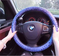 BV braided car steering wheel cover gradient colorful waving auto steering wheel cover for car interior accessories car styling