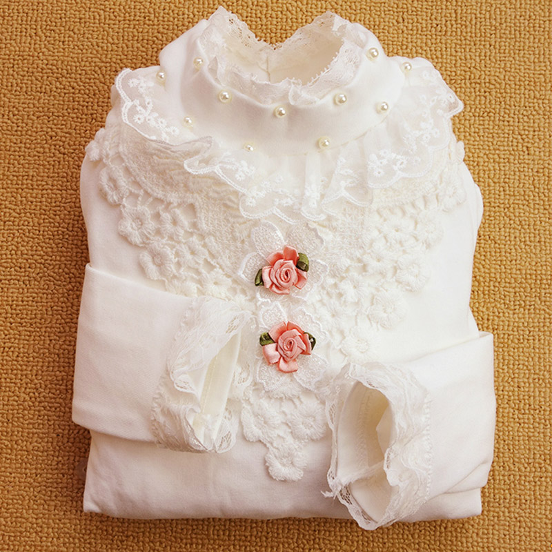 2017 new girl long t shirt  Autumn Spring Child Kids Baby Girl School Long Sleeve Blouse Tops Lace Collar Children Clothes 4-13Y
