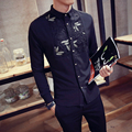 lace decoration male slim long-sleeve shirt work wear male p55