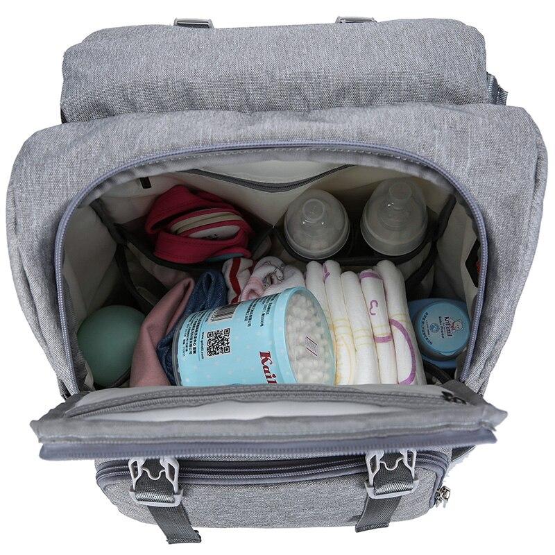 Bolsa de pañales con interfaz USB gran bebé pañal bolsa de momia maternidad mochila de viaje para mamá de bolsas - 5