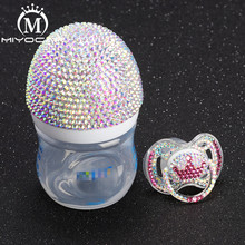 MIYOCAR Bling beautiful handmade safe PP Feeding Bottle and bling blue crown pacifier for baby shower gift