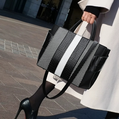 Brand Fashion Women Blue Bag Ladies Brand PU Leather Handbags Spring Casual Tote Bag Big Shoulder