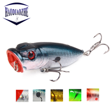 Купить с кэшбэком HAODIAOZHE Fishing Lure Popper Vivid 3D Fish Eyes Isca Crankbaits Artificial Wobblers 6# High Carbon Steel Hooks Baits YU203