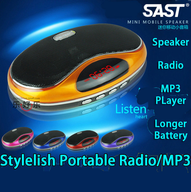Free shipping portable radio/mp3 player + speaker + 1000mAh rechargable battery/ FM USB TF Supported/Gift for grand parents