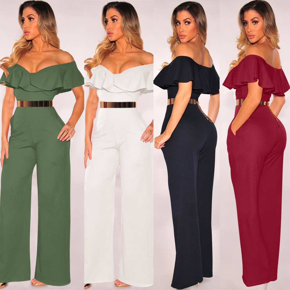 2019 New Autumn Women Jumpsuits Sexy Backless Hollow Out Sequined Sashes Rompers Femmle Black White Wide Loose Ruffled Jumpsuits
