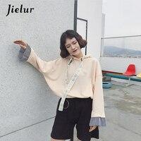 Korean Pop BF Harajuku Striped Stitching Female Sweatshirt Loose Drawstring Streetwear M XL Fashion Hoodies For