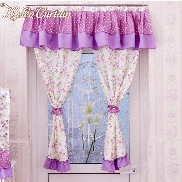 Helen Curtain Hot Sale !100% Cotton Kitchen Curtains Short
