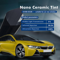 1.52x30m/5x100ft 5%VLT Car window Film 2 mil Nano Ceramic Solar Tint Sun Control 100%UV Proof glass film Heat Rejection Vinyl