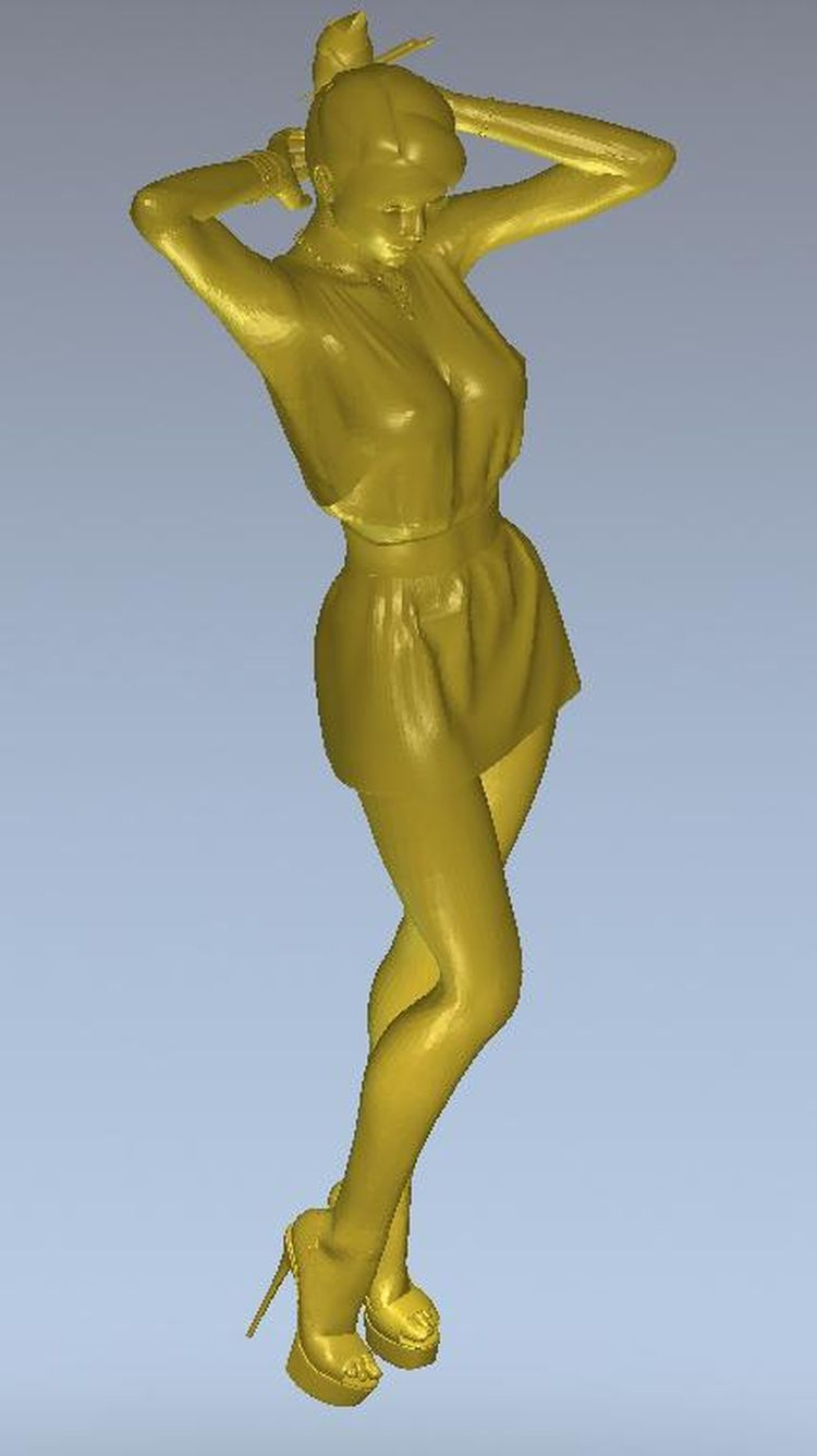3d model relief  for cnc or 3D printers in STL file format Girl in short dress 3d model relief for cnc in stl file format the girl from the bathroom