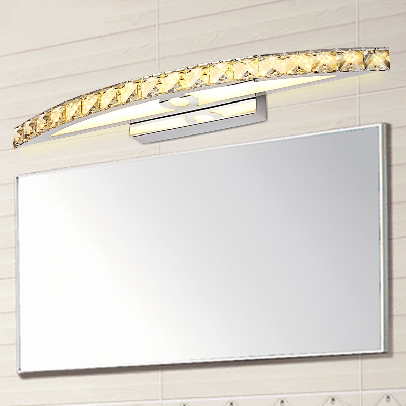 ФОТО Luxury K9 Clear/Champagne Crystal Mirror Light L44/54/70cm Stainless Steel Bathroom Light Modern Led Wall Lamp Wandlamp Lamparas