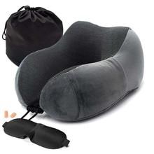 Новые u-образные подушки для шеи из пены с эффектом памяти, мягкие медленные подушки для путешествий, однотонный шейный затылочный медицинский постельные принадлежности, Прямая поставка