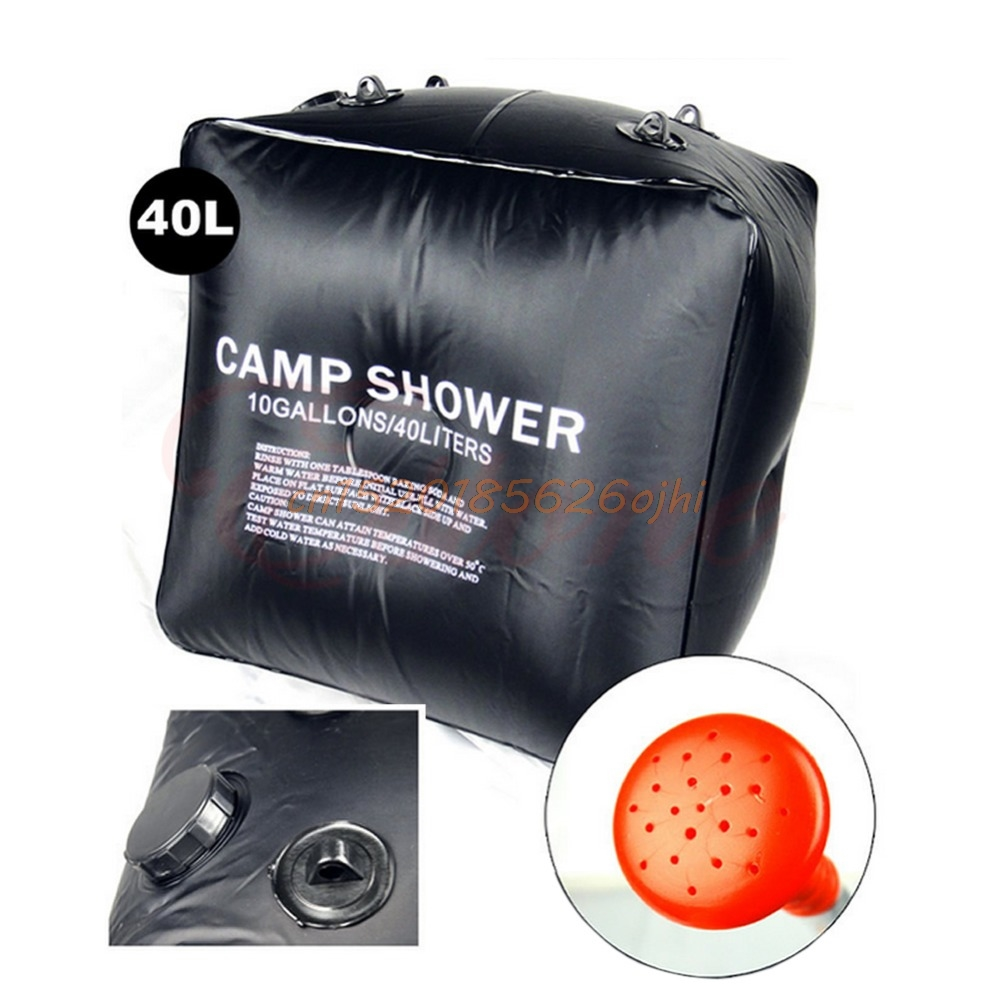 Outdoor Camp Shower Water Bathing Bag Black Hiking Folding Solar 40L 10 Gallons #H030#