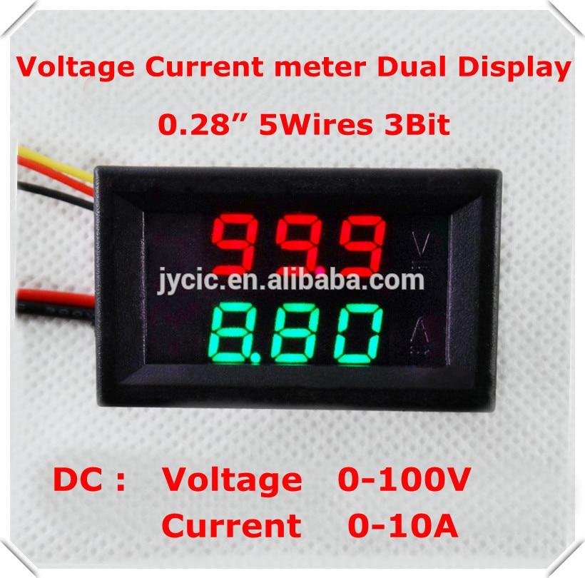 0.28Digital Ammeter Voltmeter DC0-100V/10A dual LED Display Red+Green