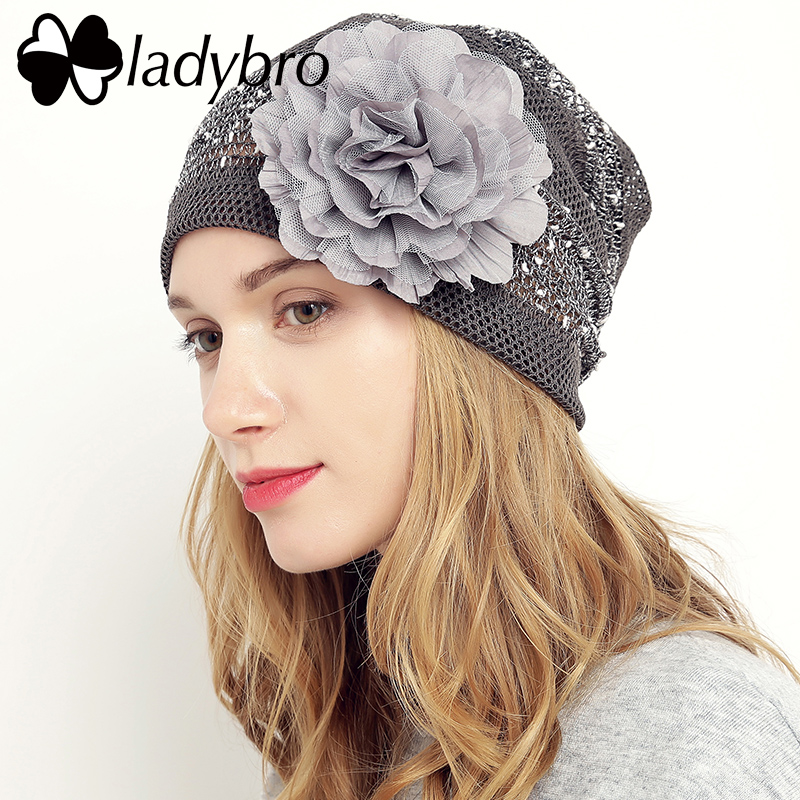 Ladybro 3 in 1 Mesh Beanie Hat Autumn Women Hat Cap Ladies Cute Hat Female  Lace Skullies Slouchy Casual Floral Bonnet Cap Femme-in Skullies   Beanies  from ... 62330de19a1