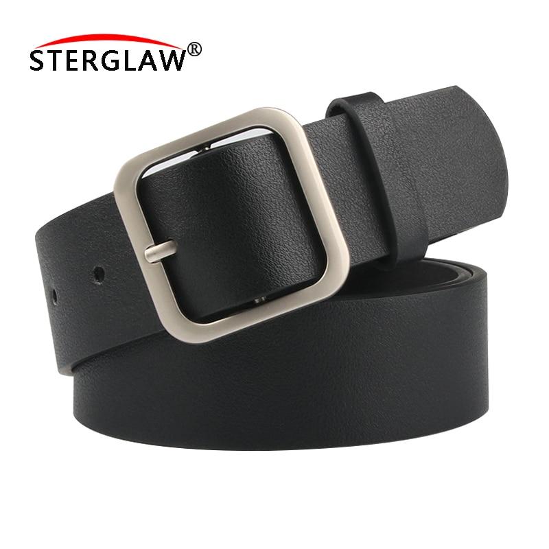Square Buckle Ladies Belt For Women Belt Genuine Leather Women Strap For Woman Cintura Nera Donna Belt Brand Female A151