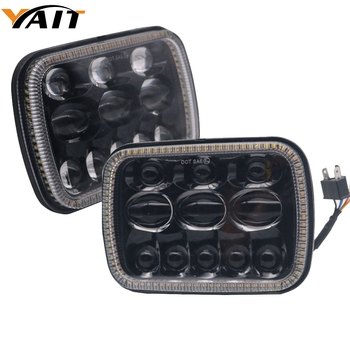 """Yait Pair Square 7x6 LED Headlights DRL for Jeep Wrangler YJ Cherokee Comanche 5x7"""" Led Square Headlights Led working light"""