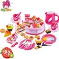 80Pcs Kitchen Toys Pretend Play Cutting Birthday Cake Food Toy Kitchen For Children Cocina De Juguete Plastic Play Food Tea Set