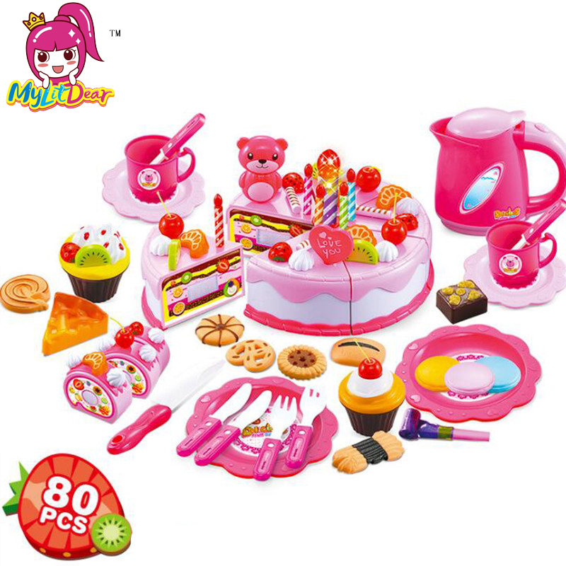 80Pcs Kitchen Toys Pretend Play Cutting Birthday Cake Food Toy Kitchen For Children Cocina De Juguete Plastic Play Food Tea Set