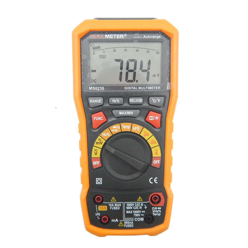 HYELEC MS8236 6000 Counts Digital Multimeter with T RMS USB 1000V 10A 60M Ohm 100mF 10MHz