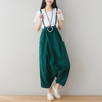 Womens Cotton Jumpsuits Rompers Overalls Body Loose Big Size England Style Casual Fashion for Spring Summer X08