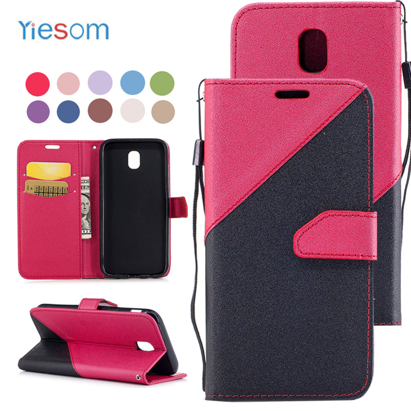 YIESOM Brand Coque Luxury Hit Color Card Slot Leather Wallet Flip Cases for Samsung Galaxy J3 J5 J7 2017 Fundas Capa Cover