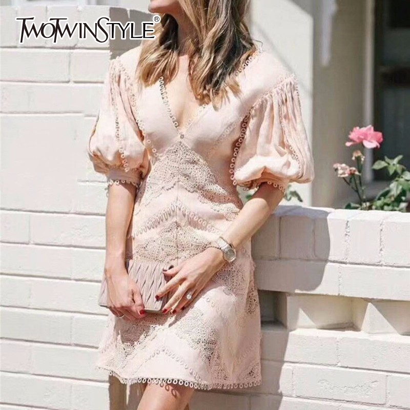 TWOTWINSTYLE Hollow Out Dress For Women V Neck Puff Sleeve High Waist Patchwork Mini Dresses 2018 Summer Sexy Sweet Clothing