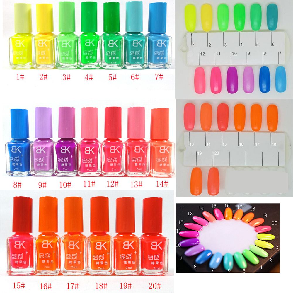 1pcs 20colors candy nail art luminous paint nail polish neon nail ...