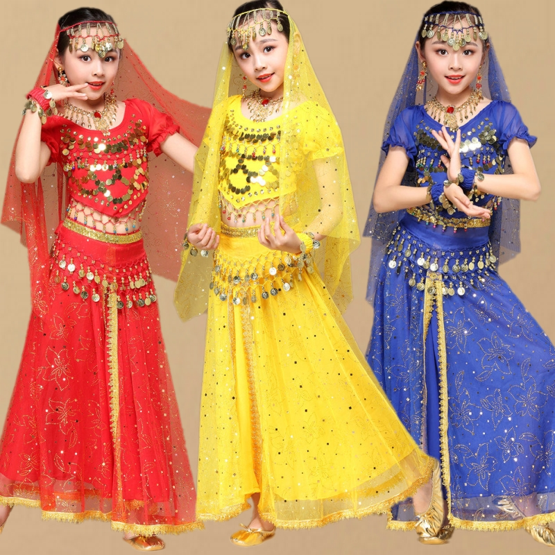 Kids Belly Dance Costumes Set Oriental Dance Girls Indian Bollywood Dancewear Performance For Children BellyDancing For Stage