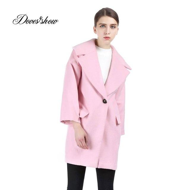 f8a01ea610aed Las mujeres de Color Rosa Gota de hombro Abrigo de Cachemir Abrigo de Lana  Mujeres Chaqueta