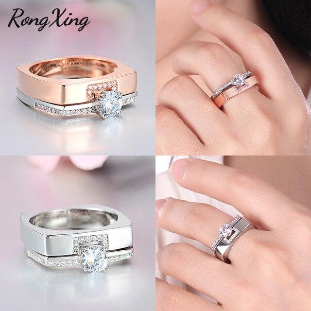RongXing Luxury Crystal White Zircon Engagement Ring Set 925 Prata/Rosa de Ouro CZ Pedra Anéis Duplos Para Mulheres Homens casal Jóias