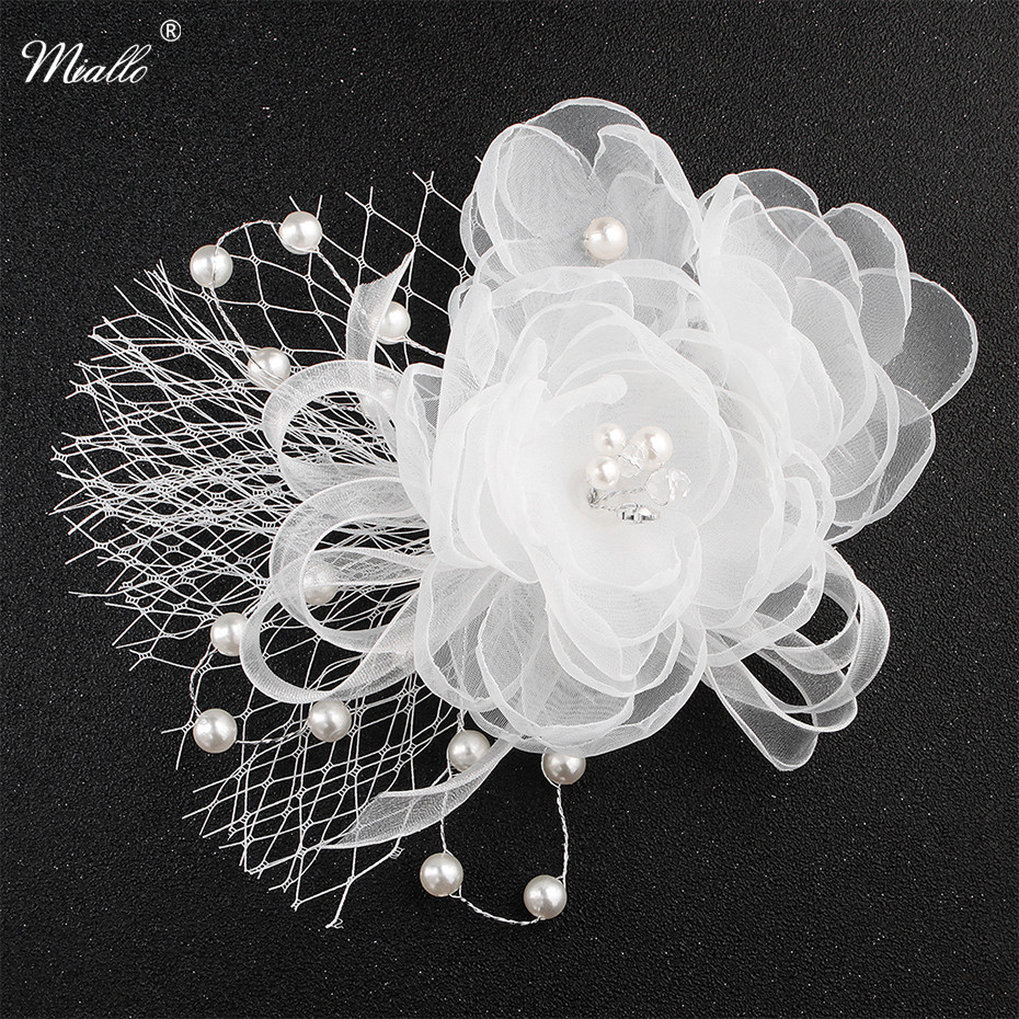 Miallo White Flower Cloth Bride Headdress Wedding Dress Hair Accessories Hair Combs Pearls Hairpieces for Women Headwear