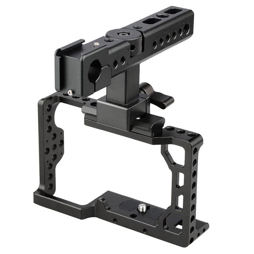"""Prix pour Camvate caméra dslr vidéo cage stabilisateur + top poignée grip avec chaud froid chaussures de protection 1/4 """"fil pour sony a6500 c1425"""