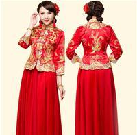 Dragon Gown Bride Wedding Dress Chinese Style Costume Cheongsam Maternity Evening Dress Show Clothing Slim Style