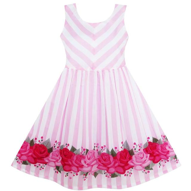 095f912693c7 Girls Dress Striped Rose Tulle Pink 2018 Summer Princess Wedding Party  Dresses Girl Clothes Size 7-14 Pageant Sundress Vestidos
