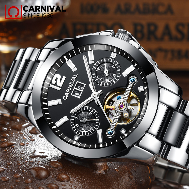 CARNIVAL Pánská kostra Mechanické hodinky Keramické popruhy Duté Tourbillon Business Casual Vodotěsné TopBrand Luxusní Hodiny