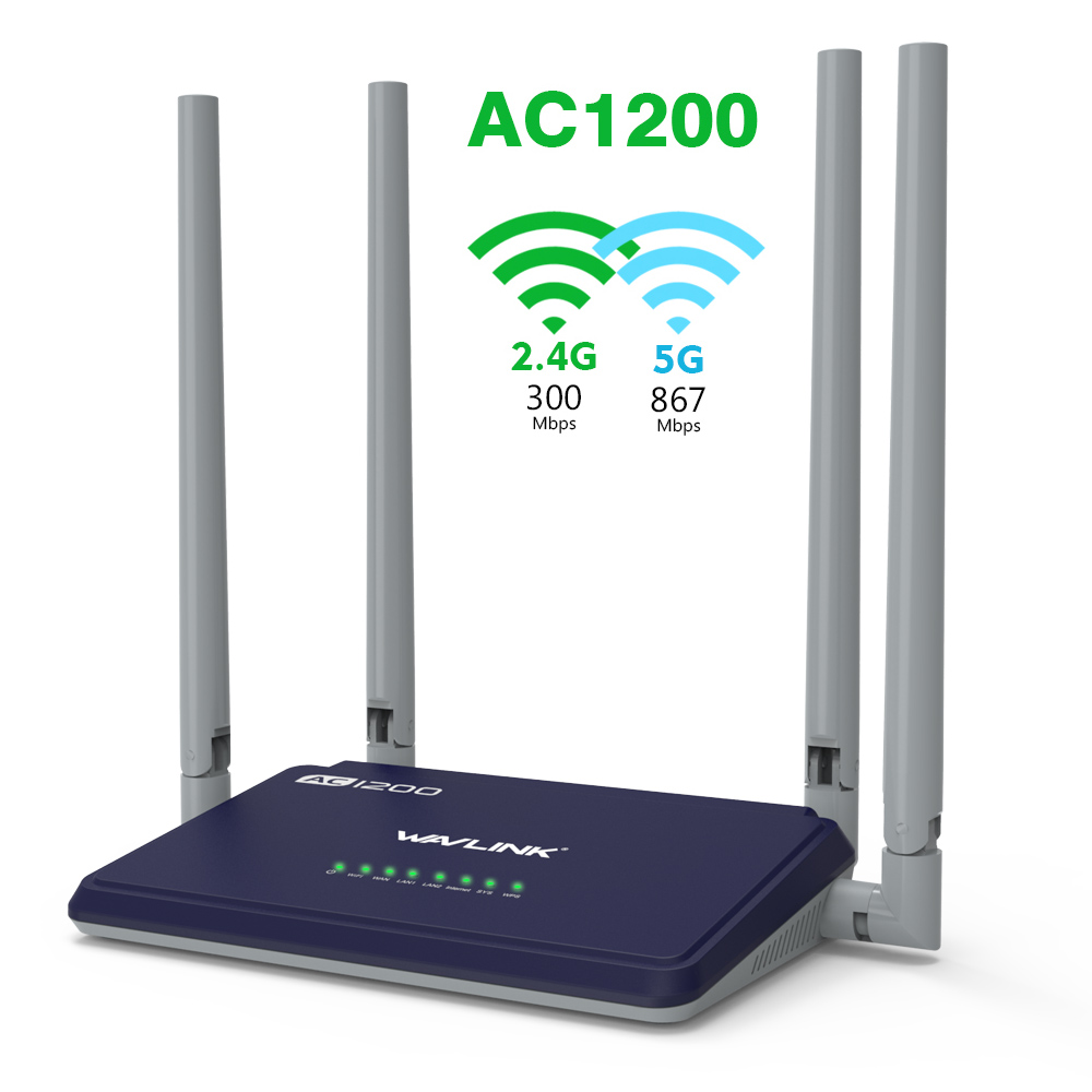 Wavlink AC1200 IEEE802.11ac Dual Band Smart Wireless WIFI Router 1200Mbs wifi APP Control External Antennas 4X5dbi 2.4G/5GHz WPS