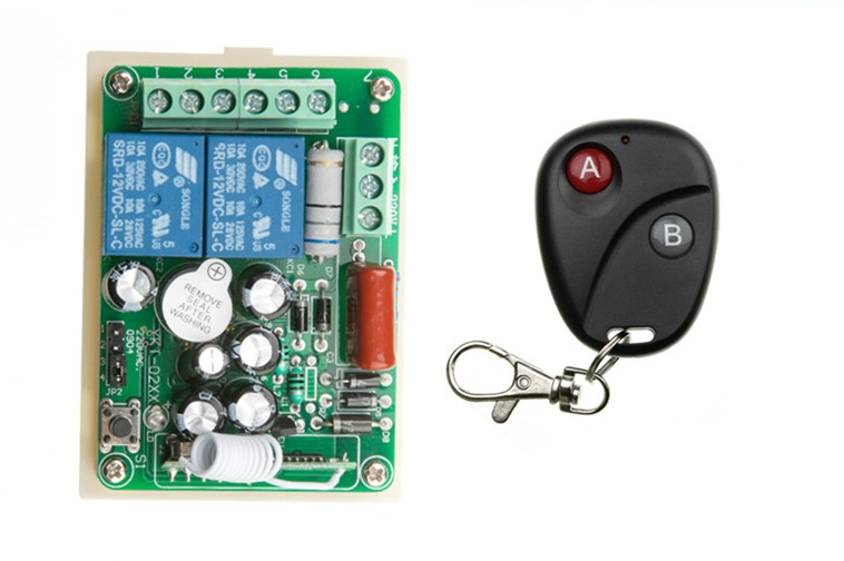 купить Free Shipping AC 220V 2 CH RF Wireless Remote Control Switch 1 piece transmitter with 2 buttons & 1 piece receiver онлайн