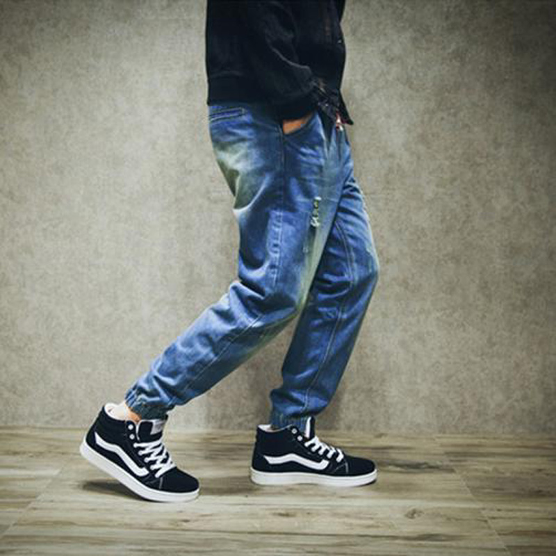Hole jeans male autumn teenage plus size male loose large crotch elastic pencil jeans men harem