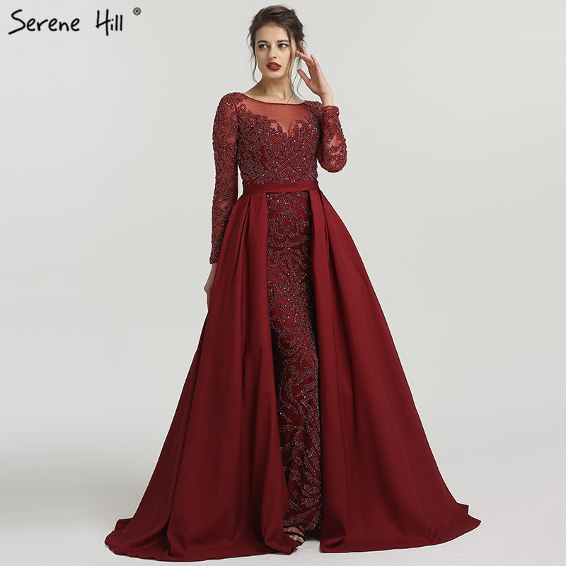 2019 Sexy Sheer Long Sleeve Burgundy Evening Dresses Crystal Beaded Long Muslim Prom Dress Party Gown Robe De Soiree BLA6172