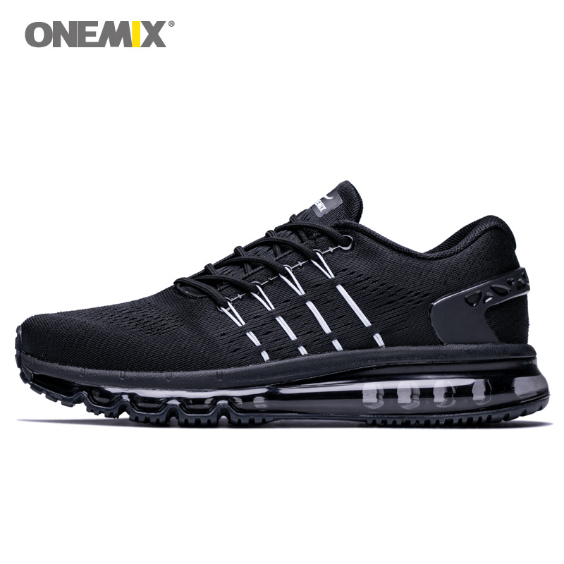 ONEMIX Air Men Running Shoes For Women Mesh Full Palm Cushion Athletic Trainers Unique Shoe Tongue Black Tennis Sports Sneakers 2018 air running shoes for women unique shoe tongue athletic trainers black red mens breathable sports shoe cushion sneakers
