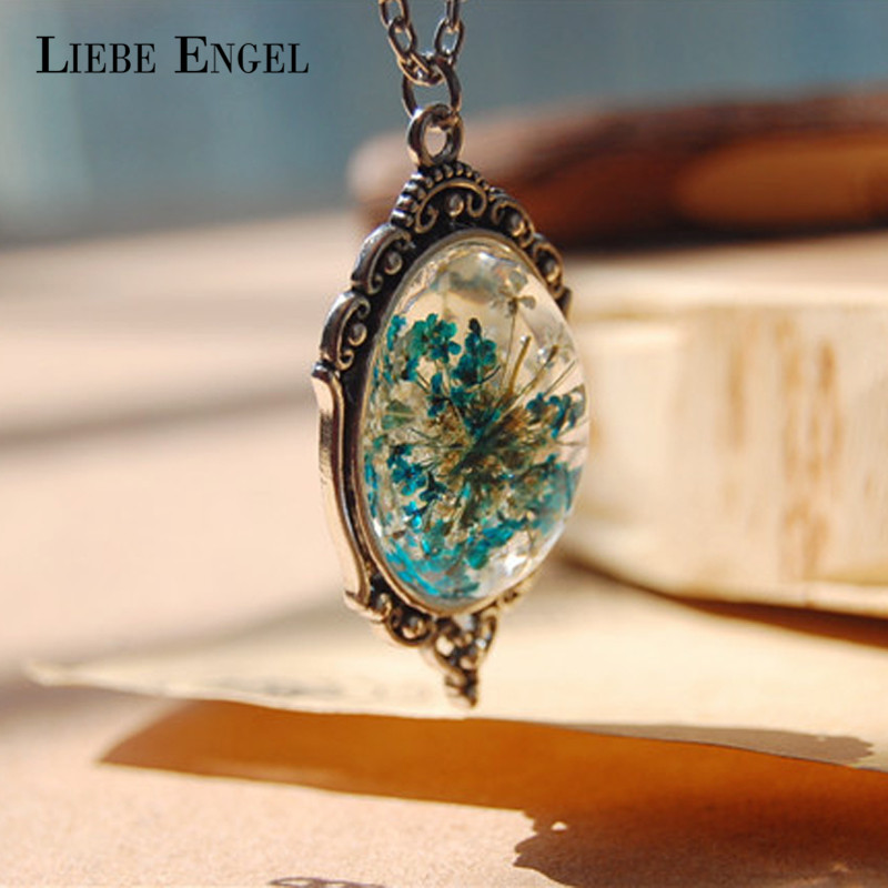 LIEBE ENGEL Vintage Style Natural Dried Flower Necklace