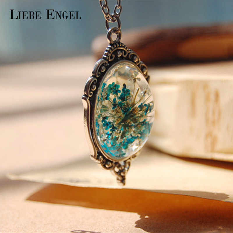 LIEBE ENGEL Department of Forestry Original Natural Dried Flower Small Pure and Fresh Pendant Necklace 1Pcs Vintage Silver Color