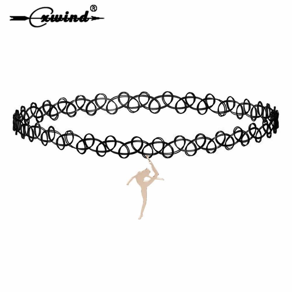 Cxwind nova menina ballet pingentes gargantilha colares para as mulheres pescoço jóias renda elástica dança menina colar colares de moda 2019