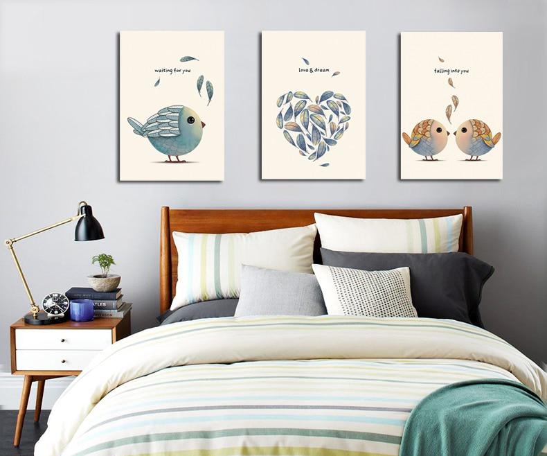 3-kusové plátno Nástěnné umění Nordic Cartoon Birds Plakáty Reprodukce Spray Painting Pictures Pár Pokoj Decor No Frame